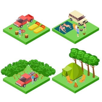 Isometric  camping location of set