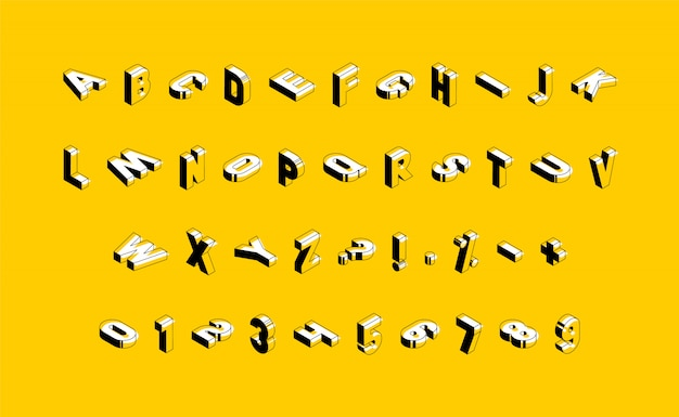 Изометрические заглавные буквы, цифры и знаки на желтом фоне. модный винтажный алфавит