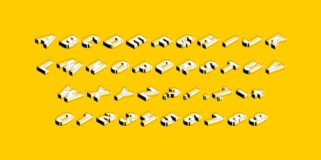 Isometric capital letters, numbers and signs on yellow