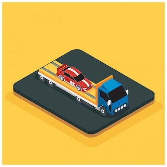 Isometric car accident concept vector flat illustration