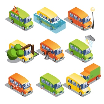 Isometric car insurance set
