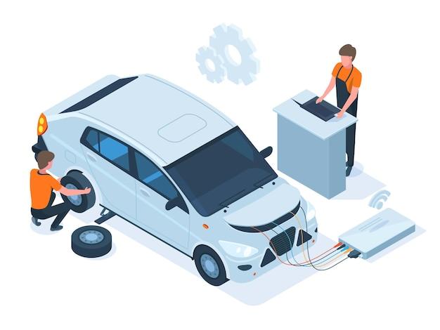 Isometric car maintenance, repair, computer diagnostics station. auto repair service, mechanic engine diagnostic, troubleshooting vector illustration set. car repair service, automobile maintenance