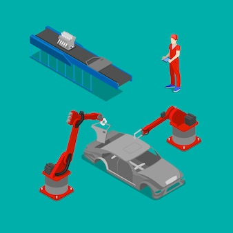 Isometric car production. assembly line of car in automobile factory.