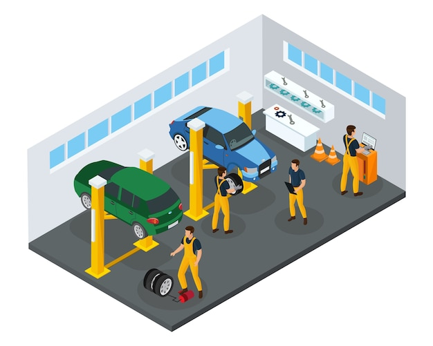 Isometric car repair service template with professional workers in uniform changing tires in garage isolated