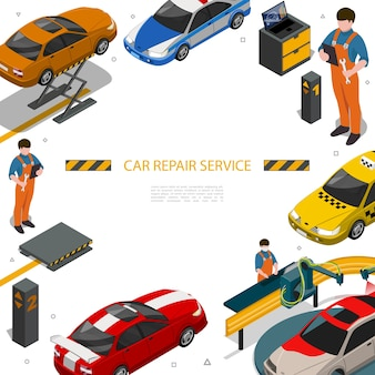 Isometric car repair service template