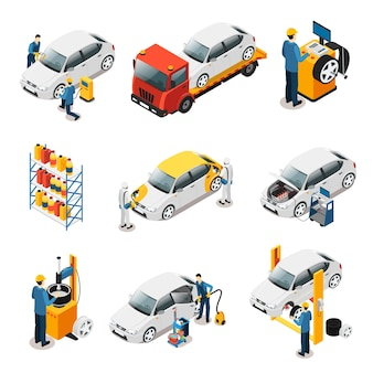 Isometric car repair services set