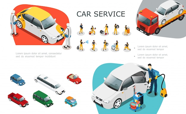 Isometric car service elements set with professional workers change tires repair and wash automobile roadside assistance