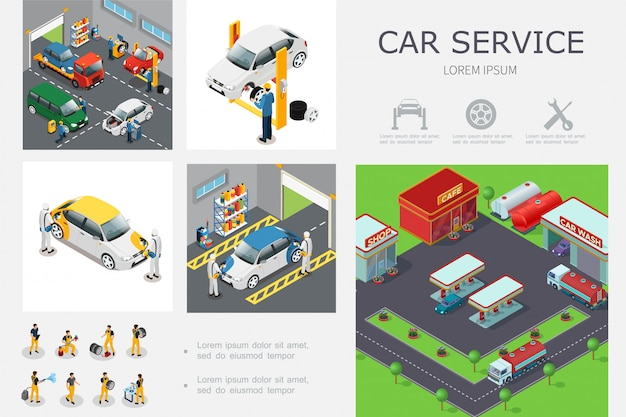 Isometric car service template with workers change tires wash and repair automobiles