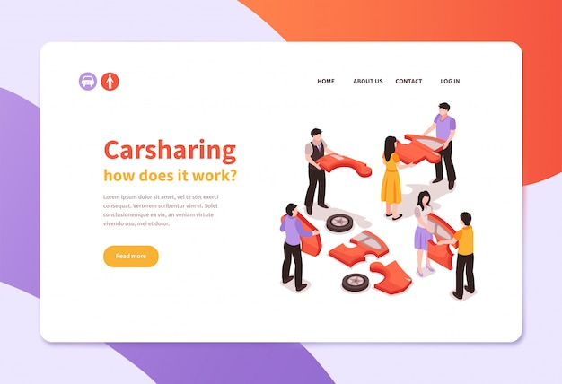 Isometric car sharing banner template