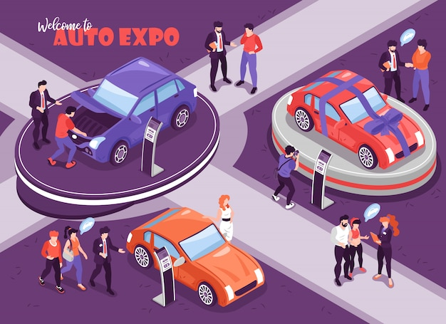 Isometric car showroom background with human characters of people with thought bubbles and cars on podium  illustration