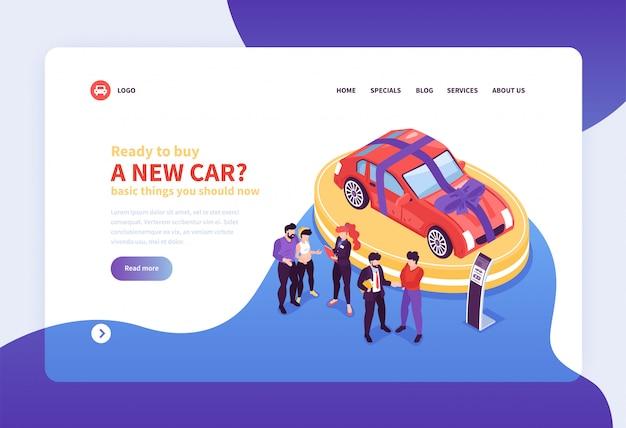 Fondo isometrico di concetto della pagina di atterraggio del sito web della sala d'esposizione dell'automobile con i collegamenti cliccabili di immagini e l'illustrazione editabile del testo