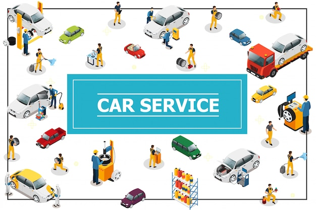 Isometric car and tire service composition with professional workers in process of automobile repair different car models and types in frame