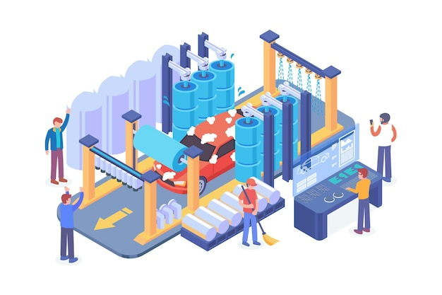 Isometric car wash technology vector concept