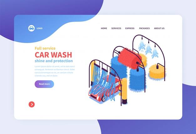 Isometric car washing services concept landing page web page design