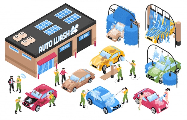 Isometric car washing services set with isolated wash station buildings and machinery with cars and people vector illustration