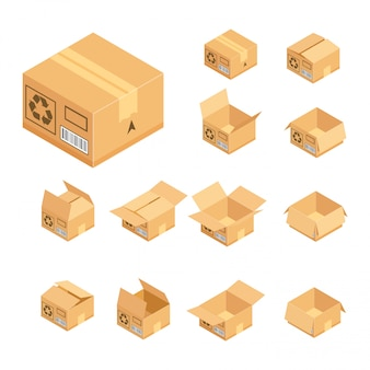 Isometric cardboard box set.