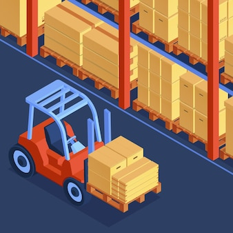 Isometric cardboard boxes composition with indoor view of warehouse
