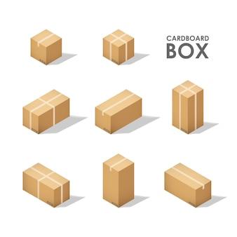 Изометрические картонные коробки, изолированные на белом фоне