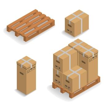 Изометрические картонные коробки на транспортном поддоне.