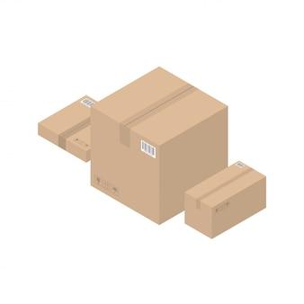 Isometric cardboard brown boxes