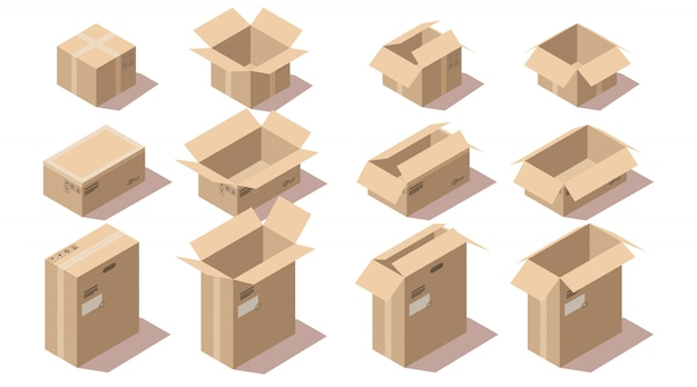 Isometric cardboard delivery package boxes