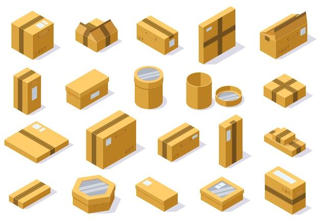 Изометрические картонные упаковочные коробки. пакет почтовой доставки, набор векторных иллюстраций 3d картонные коробки. картонные закрытые и открытые коробки