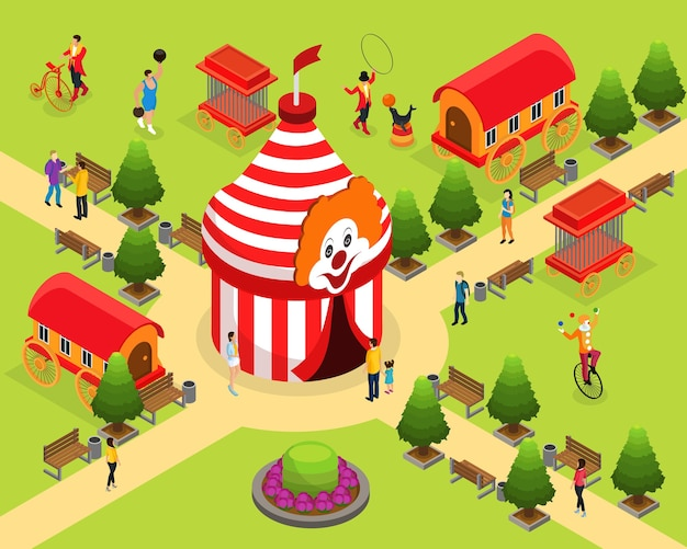 Isometric carnival circus template with tent strongman trainer juggling clown visitors animal cages artist trailers