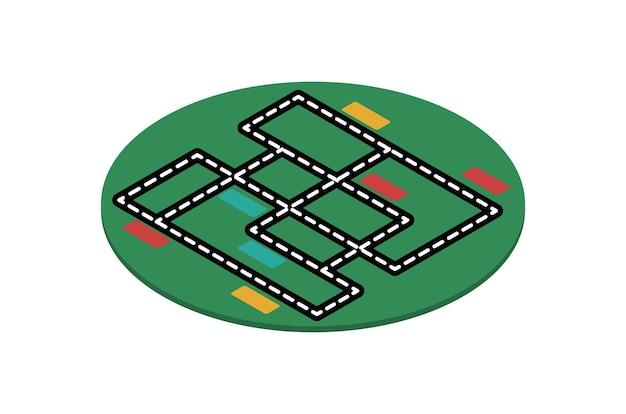 インテリアデザインの等尺性カーペットベクトル図