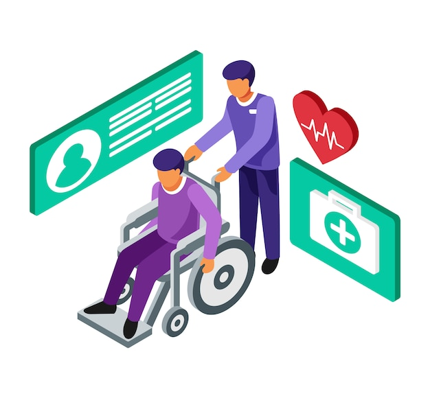 Isometric carry a patient in a wheelchair