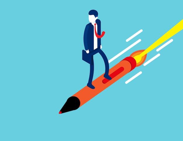 鉛筆でサーフィンする等尺性の漫画のキャラクター。起業