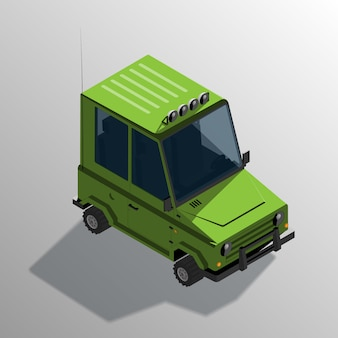 Isometric cartoon off-road car. sport utility vehicle with shadow.