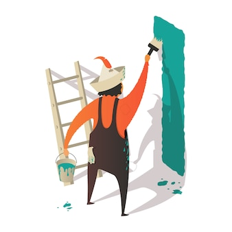 Isometric cartoon painter man painting the wall with brush and bucket.