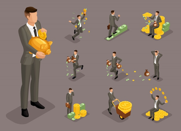 Isometric cartoon people,  businessman, rich man with money in different situations, big man and mini concept for  illustration