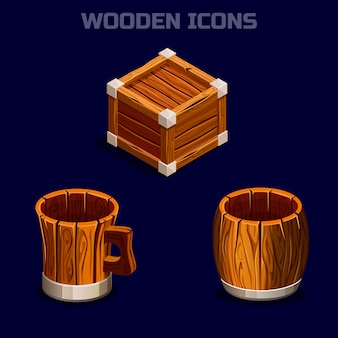 Isometric cartoon wooden icons for game.