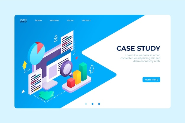 Isometric case study landing page template