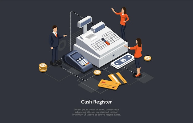 Isometric cash register concept. tiny characters at huge cash register. woman cashier is accepting payment for goods or services. customers are paying by card or cash