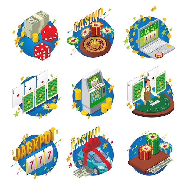 Isometric casino composition with blackjack money car as winning slot chips machine dice wallet roulette jackpot online game isolated
