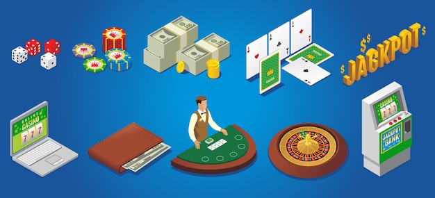 Isometric casino icons set with dice poker chips money playing cards jackpot online gambling wallet croupier roulette slot machine isolated
