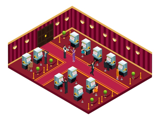 Изометрические шаблон интерьера комнаты казино