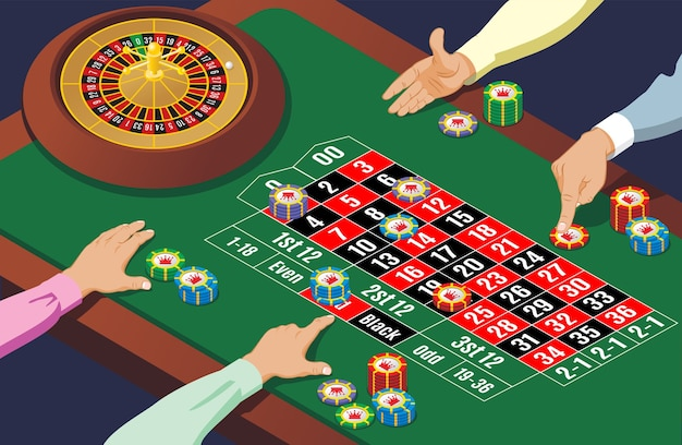 Isometric casino roulette table template with hands of playing people wheel and colorful chips