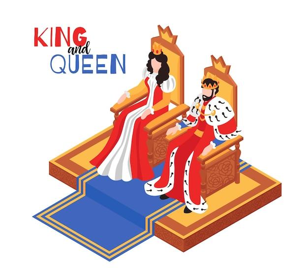 Изометрическая композиция королевского интерьера замка с текстом и персонажами иллюстрации