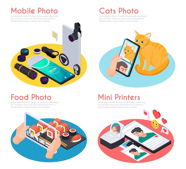 Isometric cats and food mobile photos mini printers and various tools 3d isolated
