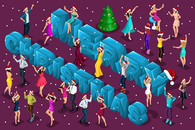 Isometric celebration, men and women have fun against the backdrop of the big letters