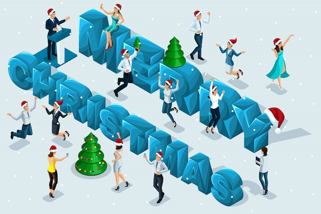 Isometric celebration, men and women have fun against the background of the big letters