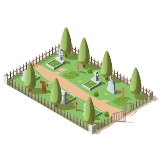 Isometric cemetery for deaded with crosses and tombstones