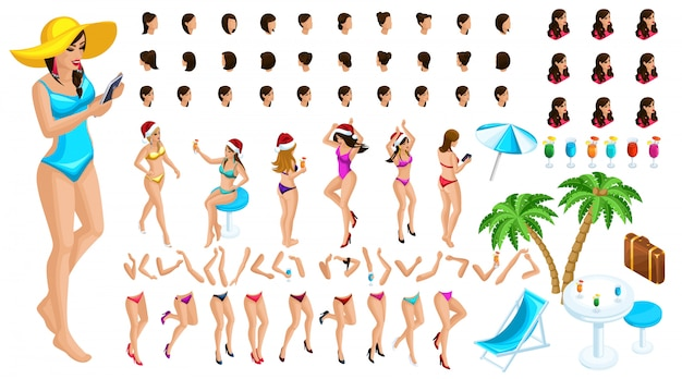Isometric character constructor, a dancing girl for christmas on the beach