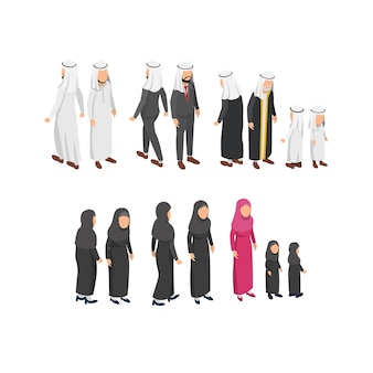 Isometric character design wearing arabian traditional clothes