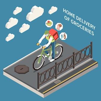 Изометрический персонаж курьера, доставляющего продукты на велосипеде