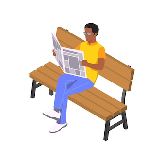 Isometric character of reading man with newspaper on wooden bench 3d
