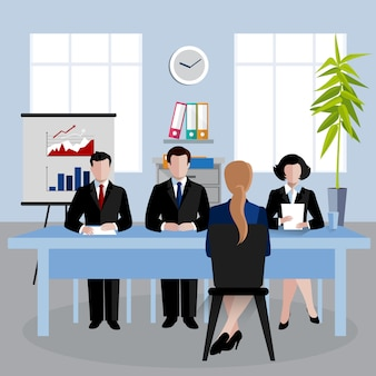 Isometric characters illustration, human resources doing interview